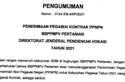 Penerimaan PPNPN di BBPPMPV Pertanian