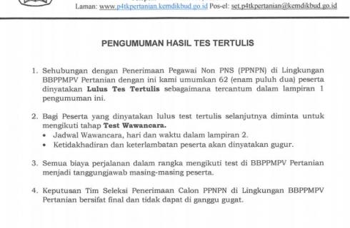 Pengumuman Hasil Tes Tertulis Penerimaan PPNPN