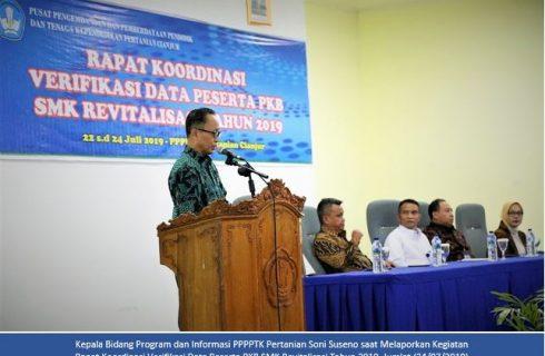 RAPAT KOORDINASI VERIFIKASI DATA PESERTA PKB SMK REVITALISASI TAHUN 2019