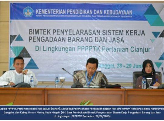 Bimtek Penyelarasan Sistem Kerja Pengadaan Barang dan Jasa di Lingkungan PPPPTK Pertanian