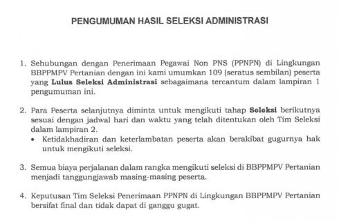 Pengumuman Hasil Seleksi Administrasi PPNPN di Lingkungan BBPPMPV Pertanian