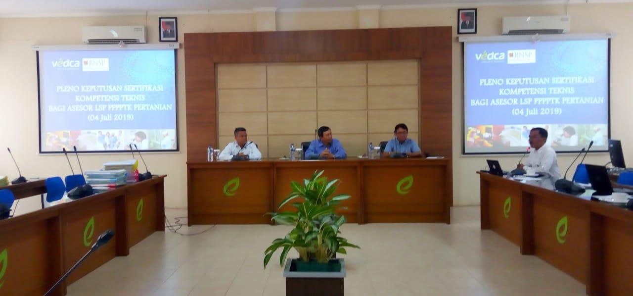 Pleno Hasil Uji Kompetensi Teknis Bagi Asesor LSP P2 PPPPTK Pertanian