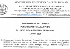Pengumuman Kelulusan Penerimaan PPNPN BBPPMPV Pertanian Tahun 2021
